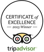 Trip Advisor 2015 Certificate of Execellence for Rise