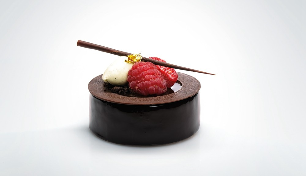 Patisserie Platine - Chocolate Mousse with Raspberry and Pistachio
