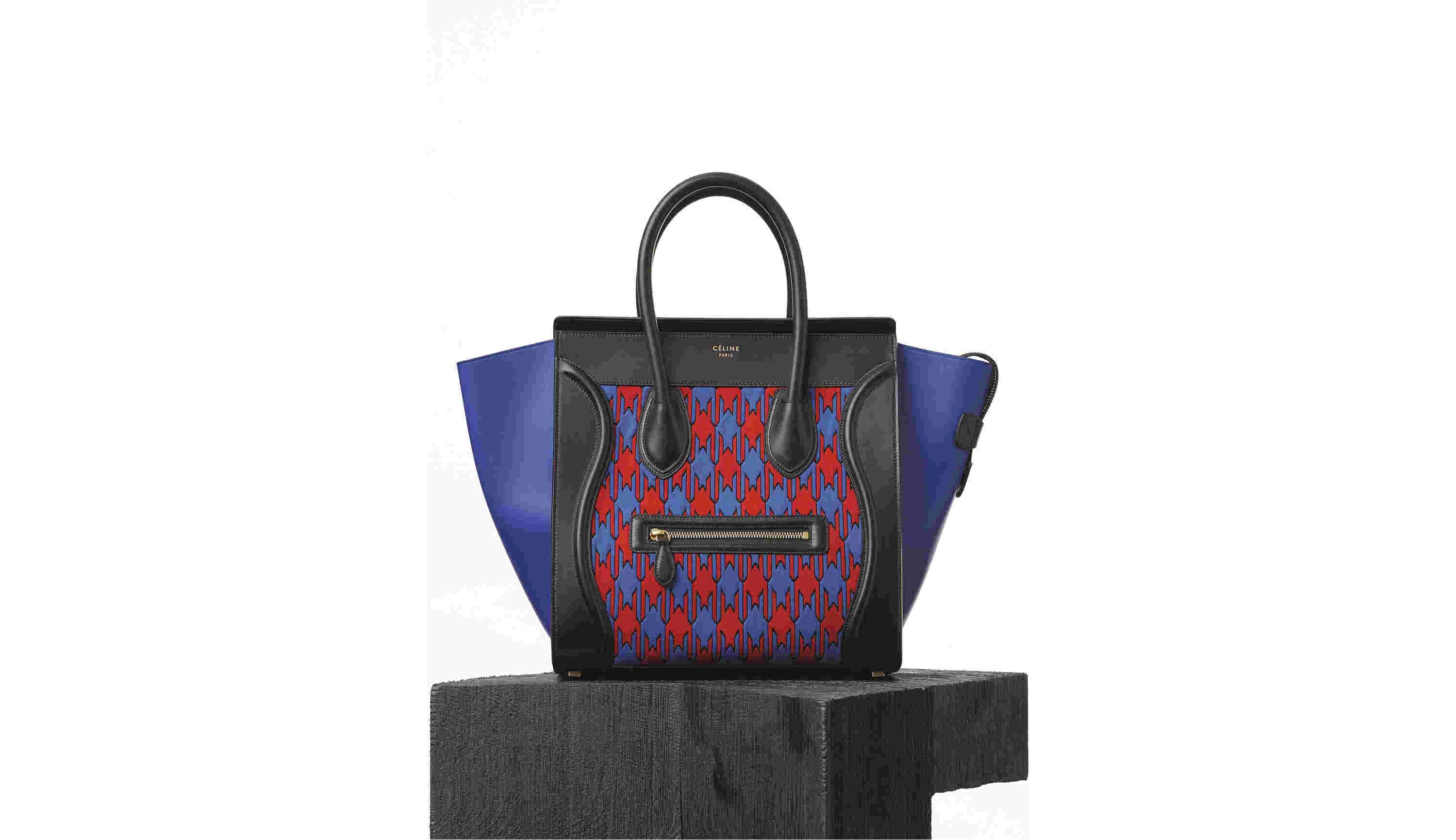 CÉLINE Summer 2015 Red Electric Blue Mini Diamond Jacquard Luggage