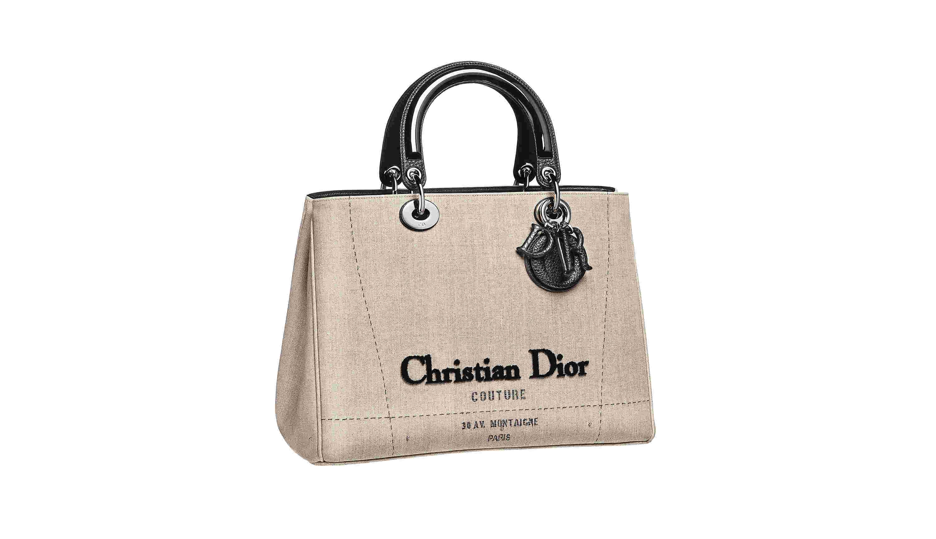 Bag in Off-white Canvas Inspired from Haute Couture, Black Leather Covered Charms